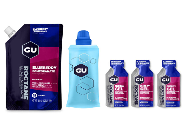 GU Energy Roctane Energy Gel Kombipaket Blueberry Pomegranate Vorratsbeutel 480g + Gel 3 x 32g + Flask
